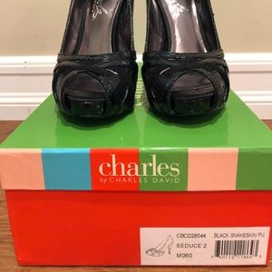 Charles by Charles David Black Snakeskin Seduce 2